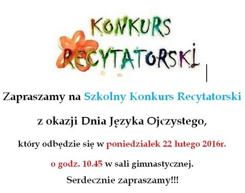 Zaproszenie Na Konkurs Recytatorski Szkoła Podstawowa Piekary